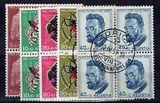 SUISSE SWITZERLAND Yvert n° 539/543 oblitéré - Blocs de 4