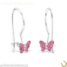 Mädchen Rosa Kristall Schmetterling Ohrringe 925er Silber Ohrhänger 4549 7 x 5mm