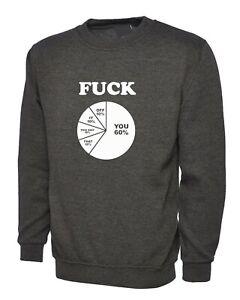 Fu*K You it off Funny percetange Naughty Rude Sarcastic ladies Sweatshirt Jumper