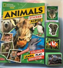 TOPPS NATIONAL GEOGRAPHIC KIDS ANIMALS LOOSE STICKER SET & Album