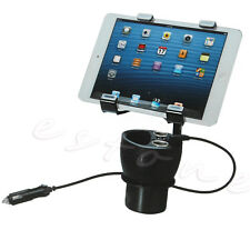 12/24V Power Cup Mount Car Charger Adjustable Cup Holder Playbook Tablet USB New