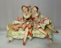 Vintage Hand Painted Porcelain Ballerina Women Sitting On Couch