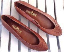 Women's Cabin Creek Shoes Size 6.5 Brown Carmen Flat Slip On Weave Leather Cogna