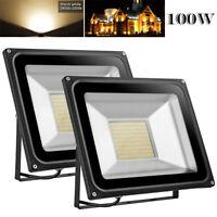 2X 100W LED Flood Light Warm White Outdoor Landscape Spot Lamp Floodlights IP65
