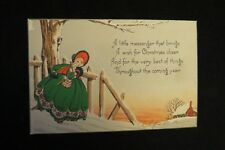 Vintage Art Deco Victorian Young Lady Christmas Card 1930S