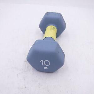 Single 10 lb Hex Dumbbell Neoprene Gray Total All in Motion