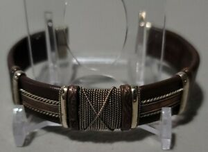 LEATHER MENS BANGLE CUFF BRACELET WITH COPPER & STEEL ACCENTS BENDS TO FIT