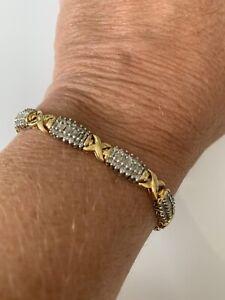 10k Gold 3.5 Carat Diamond X Tennis Bracelet.