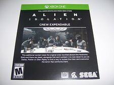 Alien Isolation Xbox One DLC CODE ONLY - Crew Expandable Code - No Game Included