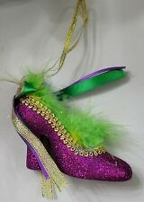 Mardi Gras Purple Green Gold Feather Shoe Christmas Tree Ornament