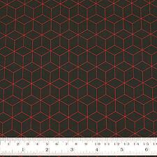 Cotton Print Fabric FQ Hexagon Square Cubic Box Flower Geometric FabricTime VS32