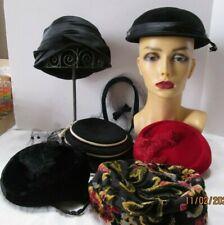 Vintage Hats Ladies & Hatpins Jewel of Italy, Red Wool, Black Netted, Navy Hal