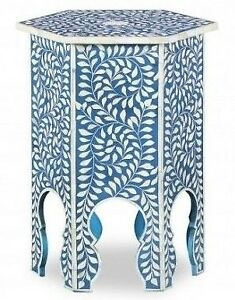 Handmade Bone Inlay Moroccan Floral Wooden Side Table Stool