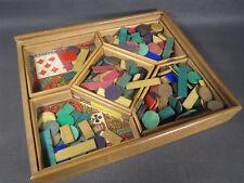 Ancien jeu de nain jaune boite bois vintage jouet ancien jetons en bois bistrot