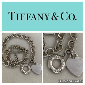 """TIFFANY & CO. HEART TAG TOGGLE CHAIN STERLING SILVER NECKLACE, 16"""""""