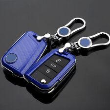 Carbon Fiber Blue Key Cover case holder for Volkswagen VW Golf 7 mk7