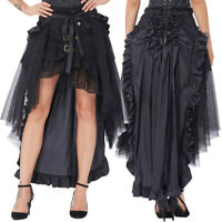 Retro Victorian Steampunk Ruffles Gothic Costume Bustle Lace Up Black Long Skirt