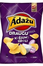 ĀDAŽU ČIPSI potato chips with cream onion flavour 200g / 7 oz Tasty Snack Latvia