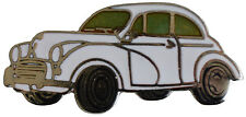 Morris Minor saloon car cut out lapel pin - White body