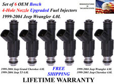 Upgrade 4-Hole 6X OEM Bosch Fuel Injectors For 1999-2004 Jeep Wrangler 4.0L