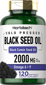 Black Seed Oil 2000mg | 120 Softgel Capsules | Nigella Sativa | by Horbaach