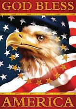 #F105 GOD BLESS AMERICA PATRIOTIC EAGLE  LARGE HOUSE FLAG 28X40 BANNER JULY 4TH