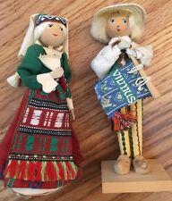 """Vintage Boy & Girl Dolls Figurines USSR Russian Lithuania Vilnius Souvenir 7.5"""""""