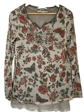Oui, Double Layer Floral Long Sleeved Top, In Grey, With Butterflies, Size 14/40