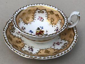 H & R Daniel c1830 Cup & Saucer Antique English Porcelain