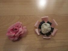 2x Kinder Brosche Anstecknadel Anstecker Rose Blume Rosa Altrosa Grau Creme