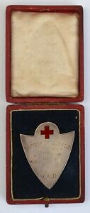 Very rare cased VAD Red Cross silver hallmarked medal 1913 Surrey Challenge