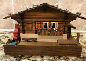 Vintage Reuge Swiss Cabin Chalet House Music Box Rotates Water Wheel Wooden