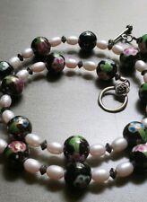 Vintage Cloisonne Necklace/Enamel Beads, Roses, Pink Pearls & Sterling Silver