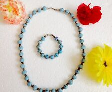 Womens Turquoise Gemstone Beaded Necklace & Bracelet Jewelry sets Jordan New
