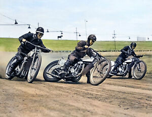 "1946 Dirt Track Motorcycle Racing Old Photo 8.5"" x 11"" Reprint Colorized Moto"