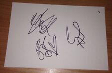 ONLY THE YOUNG FULLY SIGNED 6X4 WHITE CARD TV AUTOGRAPH THE X FACTOR 3 MEMBERS