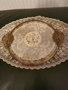 Fabulous Round Petit Point Filigree Ormolu Vanity Dressing Table Tray