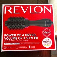 NIB Revlon One-Step Hair Dryer And Volumizer Hot Air Brush, Black / Pink