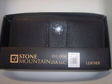 Stone Mountain Ludlow Large Zip Around Pebble Leather, Black,