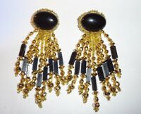 Vintage Chipita Joan Eagle Black & Gold Dangle Duster Earrings Unsigned