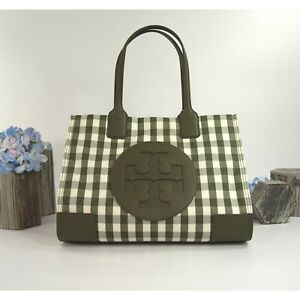 Tory Burch Ella Leccio Green Gingham Nylon Leather Mini Tote Shoulder Bag NWT