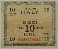 1944 10 (Dieci) Lire Italy Military Payment Certificate SN#A23567988A  (073118)