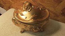 Antique  Gold Metal Casket Jewelry Box Large
