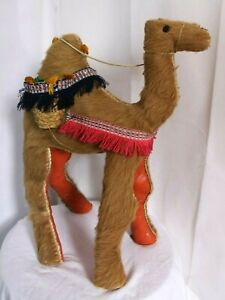 Fabulous big Vintage camel, real fur & leather, Egyptian?, 1970s Kitsch, heavy.