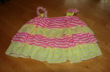 LITTLE MASS TODDLER GIRLS SIZE 4T NEON STRIPED RUFFLED TOP NEW WITH TAGS