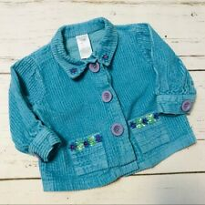 April Cornell Baby Girl Corduroy Jacket Turquoise Blue Floral Accent Sz 6-12 Mo