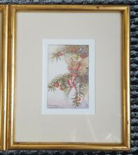 VINTAGE Flower Fairy Print - Framed in Gold - Yew Fairy - Circa 1920's