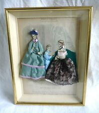 Cadre vitrine ancienne gravure de mode du 19ème habillée / femme fille