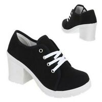 Women Black Lace Up High Block Heel Casual Ankle Boots Shoes UK Size 4 5 6