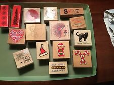 wood mounted rubber stamps lot
